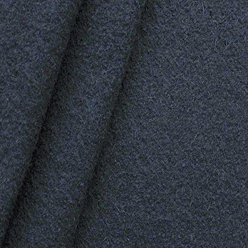 STOFFKONTOR Walkloden Stoff - Wollstoff Meterware aus 100% Wolle - zum Nähen von Mänteln, Jacken, Decken, Homeaccessoires - Nacht-Blau