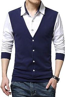 EMERA Men's Cotton Waistcoat Style Full Sleeve T-Shirt/Tshirts (Navy, Black)