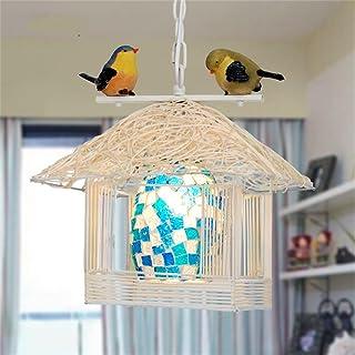 PIGE Lámparas pastorales Nido de pájaros Rattan Pequeña casa Lámparas de Techo Balcón Café Lámparas para pájaros Individuales