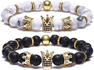 8mm Crown King Charm Bracelet for Men Women Black Matte Onyx Natural Stone Beads Couple Jewelry