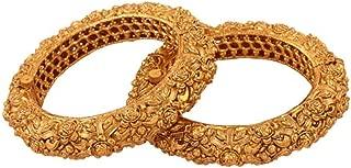 Traditional Ethnic Gold Plated 2 Pcs Bangle Set Bracelet Indian Jewelry_2.8