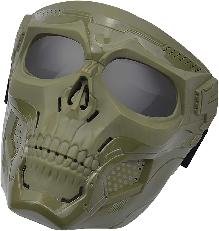 ROAKSNR Máscaras tácticas de Calavera, máscara de Airsoft, Cara Completa de Calavera, máscaras tácticas, Equipo de protección con Lentes, Gafas, protección para los Ojos (Armygreen - C)