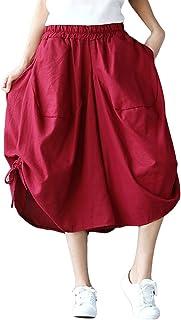 (Blostirno)レーディス サルエルパンツ 袴パンツ 麻 カジュアル ガウチョパンツ ワイドパンツ スカンツ 七分丈 ファッション 無地 調節紐(JP221-red)
