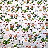 Stoff Meterware Baumwolle weiß grün Robin Hood Ritter