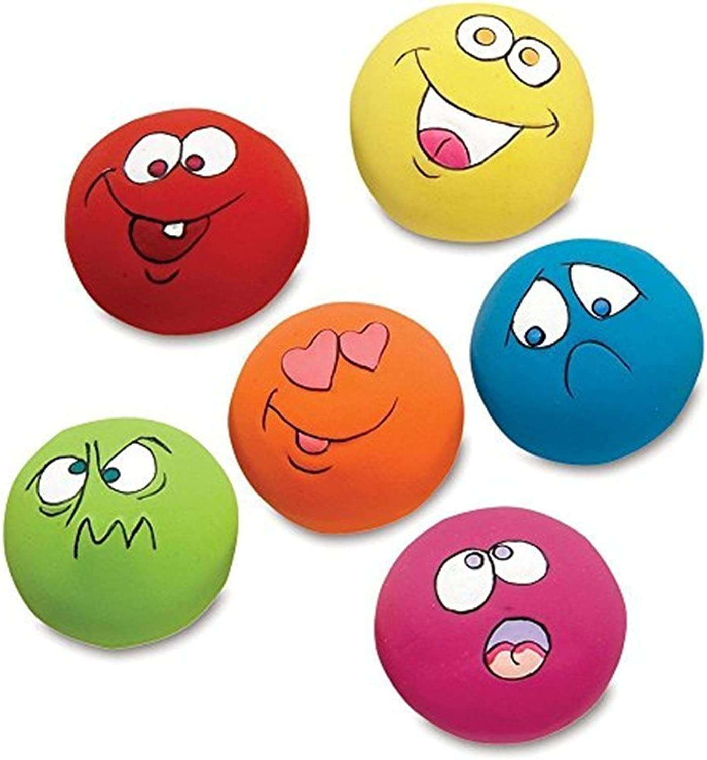 6PCS Squeaky Ball for Dogs Puppy Toy Funny Animal Sets Pet Interactive Play for Small Dog with Sound Squeaker Assorted Face