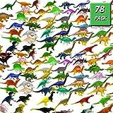 Lusun 78 Pack Mini Dinosaur Figure Toys - Plastic Dinosaur Set for Kids Toddler Education, Including T-rex, Stegosaurus, Monoclonius, etc