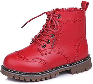 LFHT Boy's Girl's Waterproof Side Zipper Lace-Up Ankle Boots Outdoor Workboots Walking Winter Snow Sneaker Shoes