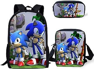 Sonic The Hedgehog Mochila Impresa, Sonic Bookbags Set Mochilas Escolares de Lona de Gran Capacidad con Bandolera y Bolsa de lápices