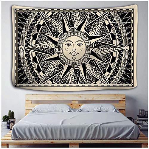 KBIASD Mandala Tapiz Brujería Decoración para Colgar en la Pared Astrología Sol Manta Blanco Negro Sol Luna Mandala Lavado a Mano Tejido 150x130cm