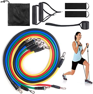 RCYAGO Resistance Bands - 11pcs Workout Bands Resistance Bands Set with 5 Stackable Exercise Bands with Door Anchor, 2 Foa...