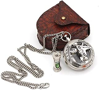 Best Mens Gifts Necklace Sundial Push compass with Leather Case