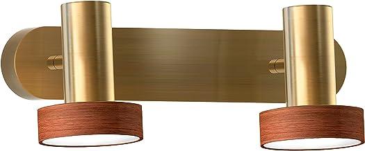 Sulion Led-stekkerdoos voor badkamer, 2 x 5 W, 4.000 K, oud leer en echt hout, IP23