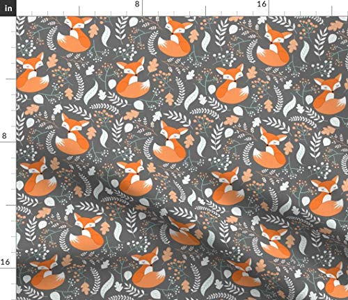 Spoonflower Fabric - Fox Foxes Gray Stone Baby Nursery Woodland Animals Kids Childrens Printed on Petal Signature Cotton Fabric by The Yard - Sewing Quilting Apparel Crafts Decor