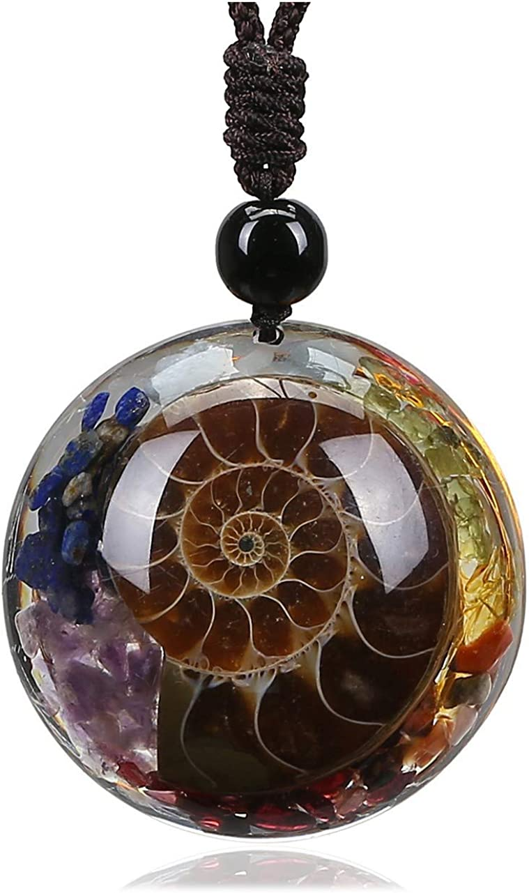 MANIFO Ammonite Fossil Pendant Necklace 7 Chakra Healing Crystal Stone Spiral Necklace for Men Women