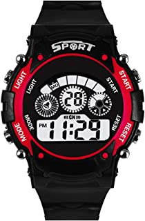 Shocknshop Digital Red Dial 7 Light LED Silicone Band Sports Watch for Boys Kids -W108RD