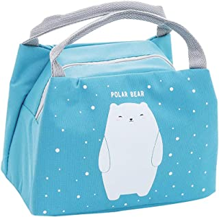 Oyachic Cute Thermal Animal Lunch Bag Insulated Tote Leakproof Zipper Bag with Foil Liner for Office, School and Picnic (pola bear)