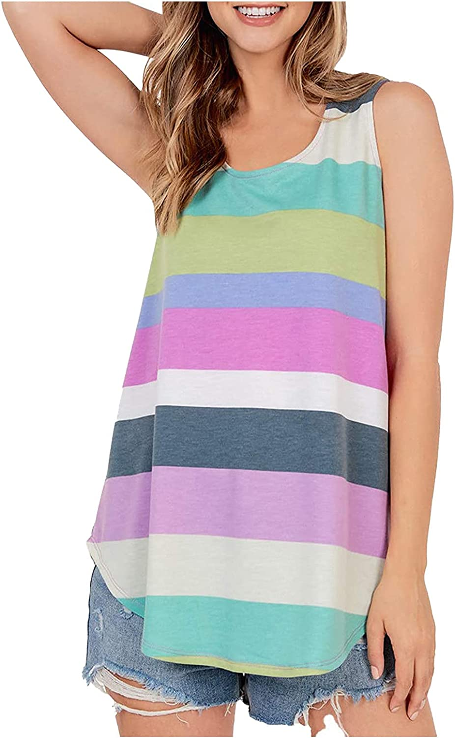 Siviki Color Block Stripe Print Japan's largest assortment Beach Sleeve Tunic Directly managed store Blouse Summer