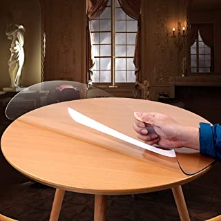 ZIJINJIAJU防油 テーブル 透明マット 撥水 テーブルクロス PVC 円形 テーブルクロス テーブルマット デスクマット 透明 テーブルカバー 円形 厚さ1.5 mm/ 2.0mm 防水 撥水加工 耐久 耐熱 汚れ防止 (透明厚さ2.0mm, 円形 直径100cm)