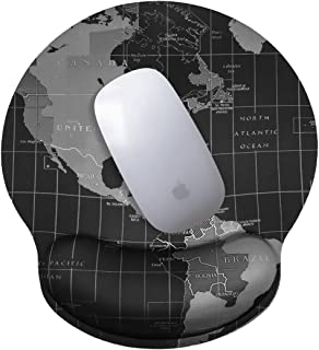 Mouse Pads with Wrist Rest for Computers, Ergonomic Memory Foam Nonslip Wrist Support Lightweight Rest Mousepad for Office, Gaming, Laptop & Mac, Pain Relief, World Map