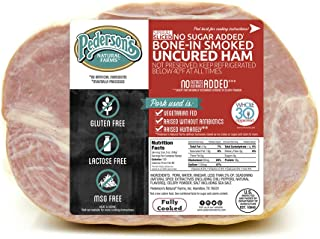 Pederson's Natural Farms, Spiral Sliced Bone In Uncured Half Ham, (8 to 9 lbs) Serves 14-16. Fully Cooked. No Sugar. – Whole 30 Approved, Keto Diet, Paleo Diet, Nitrite and Nitrate Free, Holiday Ham