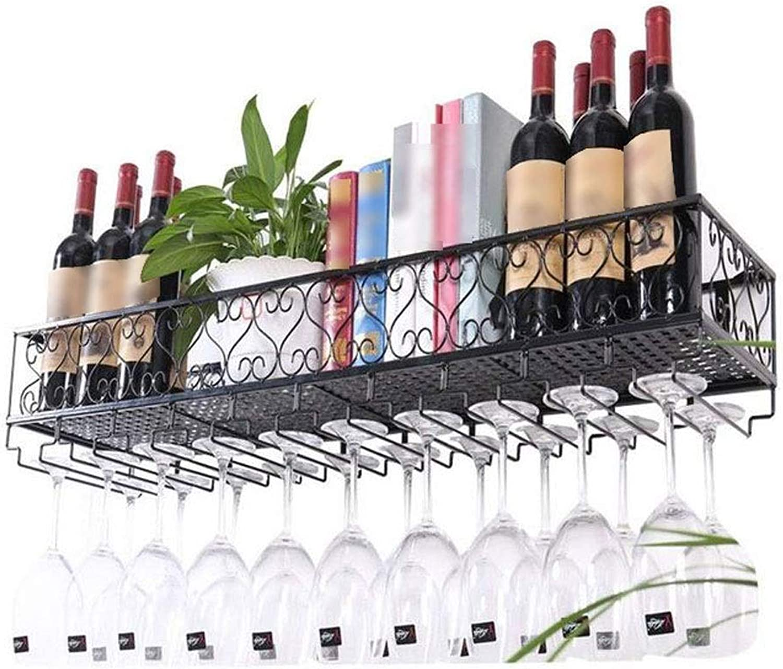 ventas calientes LXYPLM Botelleros Estante Vino Soporte de Parojo Montado Metal Metal Metal Colgante Copa de Vino Botella de Vino Estante de Parojo Organizador de Almacenamiento Rack (Talla   60  25  17cm)  100% precio garantizado