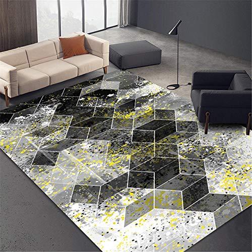 Kunsen Alfombra Lavable Alfombra salón Grande roja Mueble geométrico Gris decoración Sala...
