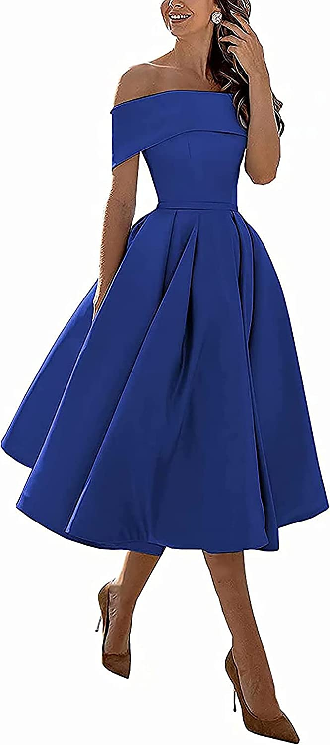 Off Shoulder Short Bridesmaid Dresses for Women Juniors Formal Ball Gown Teens Homecoming Party Prom Dress Satin