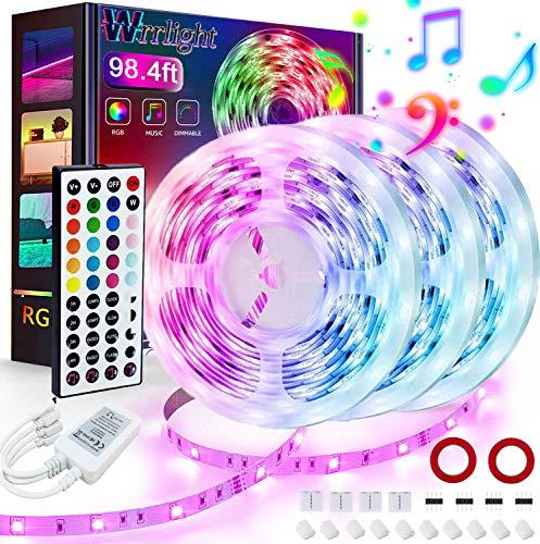 LED Strip Lights,98.4ft 30m 3X32.8ft Ultra-Long RGB Led Lights Strip 5050 LED Tape Lights Color Changing Rope Lights with 44 Keys Remote Sync to Music Apply for Bedroom, Kitchen, DIY Home Decoration
