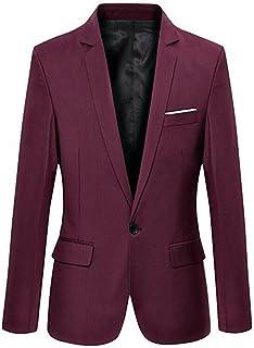 Botong Burgundy Slim Fit Notch Lapel Mens Suit Jacket Mens Blazer