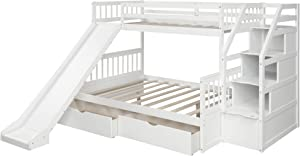 Twin Over Full Bunk Bed with Storage and Slide,Stackable Wood Twin Over Full Bunk Bed for Kids