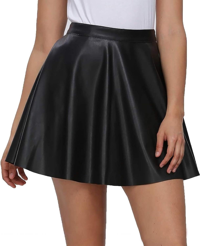 Fahsyee Plus Size Leather Skirt, Women's Black Pleated Skater Mini A-line Vegan Faux High Waist Casual Stretchy S-XXL
