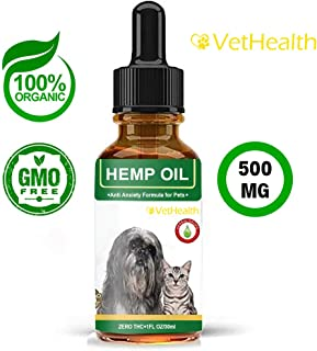 Vet Health Hemp Oil for Dogs and Cats Organic Hemp Oil 500 Milligram - Dog Calming Aid - Anxiety Support - Reduces Inflammation - Skin and Coat - Hip and Joint Pain Support for Pets - Omega 3, 6, 9