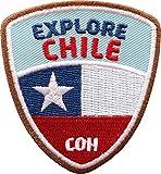 Club of Heroes 2 x Chile Abzeichen 55 x 60 mm gestickt/Explore Chile Aufnäher Aufbügler Sticker Wappen Patches für Kleidung Rucksack/Reiseführer Abenteuer Flagge Fahne Land