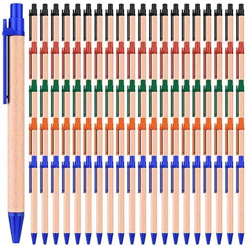 100 Stück kugelschreiber großpackung Kraftpapier Kugelschreiber Schwarze Tintenschreiber 0,7 mm Mittelspitzen-Kugelschreiber für Schulbüros, mehrfarbig
