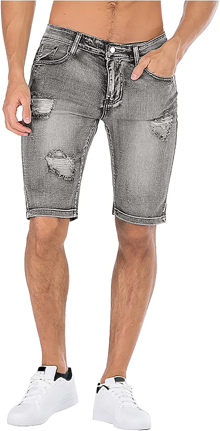 Men's Summer Ripped Personality Retro High Stretch Denim Shorts Casual Slim Fit Pocket Wash Jeans Shorts 9 Inch