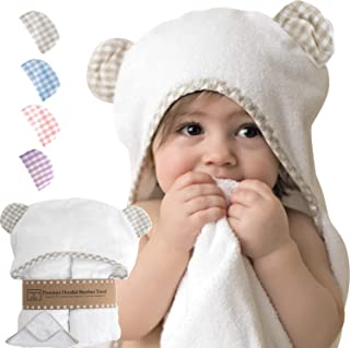 Premium Hooded Baby Towel and Washcloth Set - Soft Organic Bamboo Baby Towels with Hood - Hooded Bath Towels with Ears - Hypoallergenic Toddler Towel - Baby Shower Gift for Boys, Girls (Beige/White)