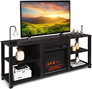 Tangkula 2-Tier Fireplace Stand TV Stand, Entertainment...
