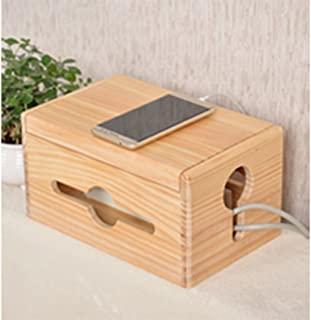 Wooden Cable Tidy Box,Cable Management Box Organizer Power Strip Cord Socket Storage Boxes for Network Computer TV Cord/Po...