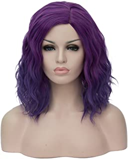 BUFASHION Short Bob Ombre Dark Purple Wavy Glueless Synthetic Hair Wig Heat Resistant Middle Parting
