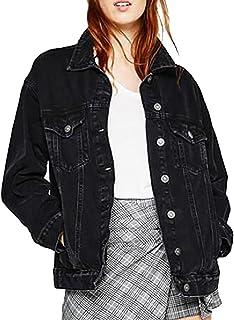 jxfd Women's Oversized Denim Jacket Jean Boyfriend Long Sleeve Coats