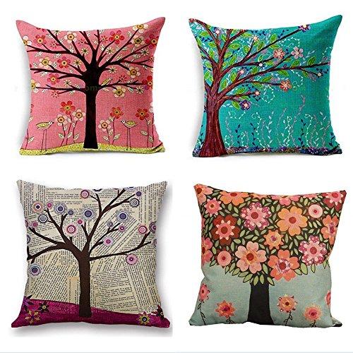 HANGOOD cotone lino tiro federa cuscino copre albero della vita 45,7x 45,7cm set di pezzi