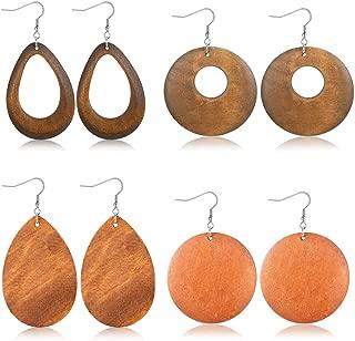 4 Pairs Statement Dangle Earrings for Women Girls Ethnic Wood Drop Earrings Stainless Steel Stud
