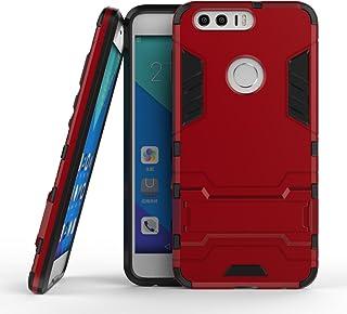 保護フォンケース 実用 Huawei Honor 8 OnePlus 3 LG X電源New 2 in 1 Iron ArmorタフスタイルハイブリッドデュアルレイヤーアーマーディフェンダーPCハードケーススタンド付き[耐震性ケース] (Color : 赤, Size : OnePlus 3)