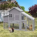 """Chicken Coop Outdoor Wooden Hen House 65"""" with Large Nesting Box, Poultry Cage with Removable Tray,UV Proof Roof"""