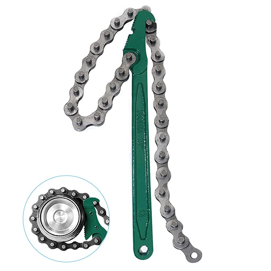 KOOTANS 12 inch Ratcheting Chain Pipe filter Wrench for Oil Filter, Wrench Chain Style Remover Tool Fit 1.5