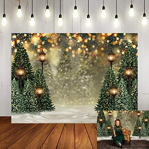 Mocsicka Winter Forest Landscape Backdrop Snowy Christmas Pine Tree Halo Spots Photography Background Winter Wonderland Forest Family Party Wall Decoration Photo Studio Props (7x5ft)