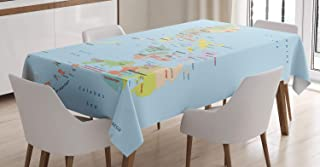 Ambesonne Phillipine Tablecloth, Philippines Administrative Political Map Cities and Seas Cartography Themed, Dining Room Kitchen Rectangular Table Cover, 52