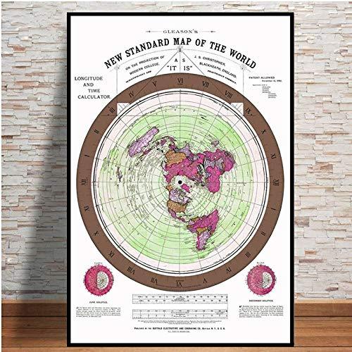 HNTHBZ Las Impresiones del Cartel y 1892 Flat Earth Mapa película del Mapa del Mundo Moderno Pintura del Arte Cuadros for la Sala de Estar Decoración (Color : 4, Size (Inch) : 60x80cm)