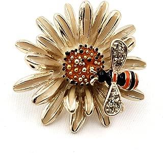 DREAMLANDSALES Nature Inspiration Vintage Honey Bee on Chrysanthemum Brooch Enamel Pin Spring Jewelry