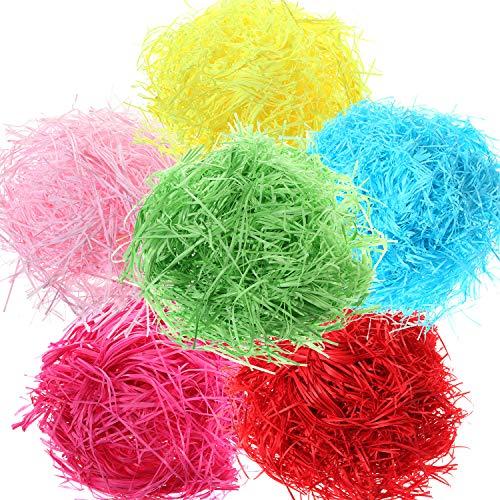 300 Gramm Ostern Gras Geschreddert Papier Korb Gras Füller für Handwerk Geschenke Verpackung Füllung, 6 Farben